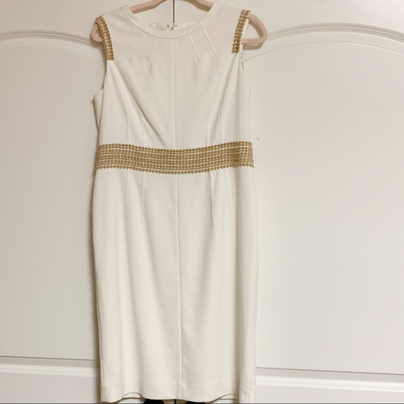 Anne Klein Dresses & Skirts - Anne Klein Ivory Sleeveless Tan Eyelet Shift 10